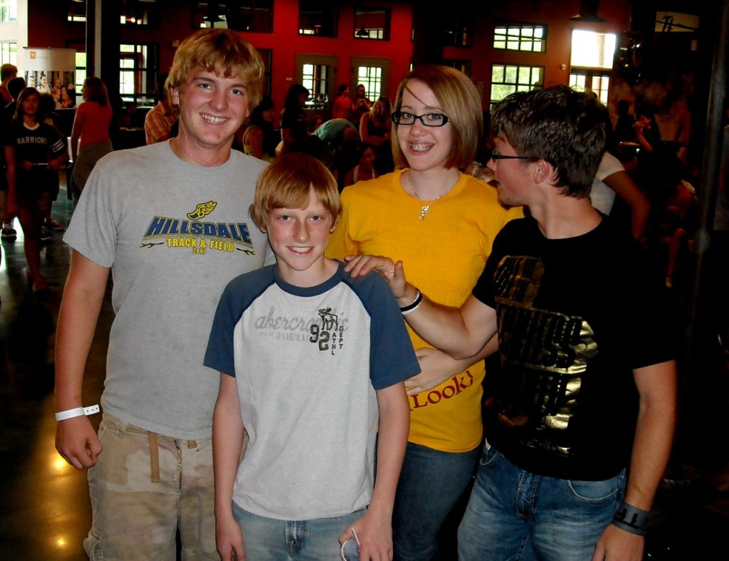 hanging at the pdym-slc - parker, austin, emmah and adam